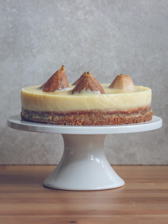 Pudinkový dortík s hruškami